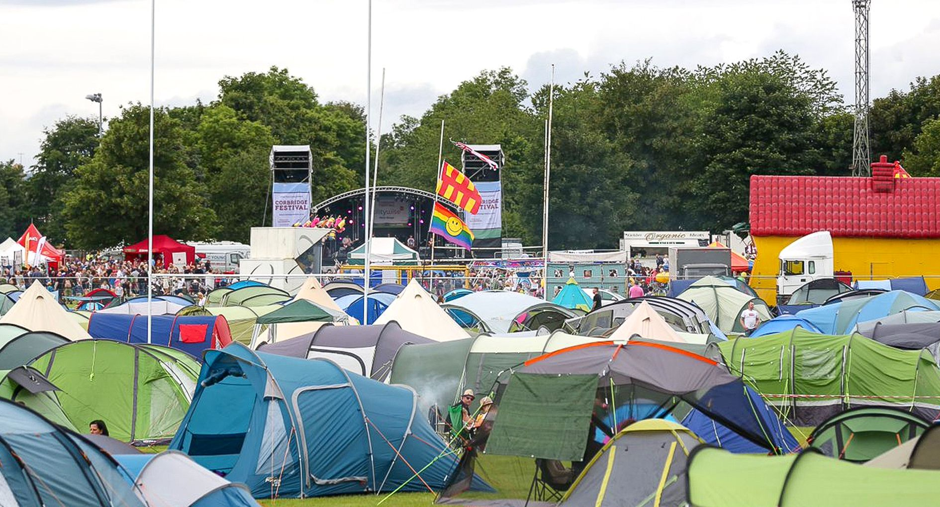 A view of the camping area within Corbridge Festival with the sun shining